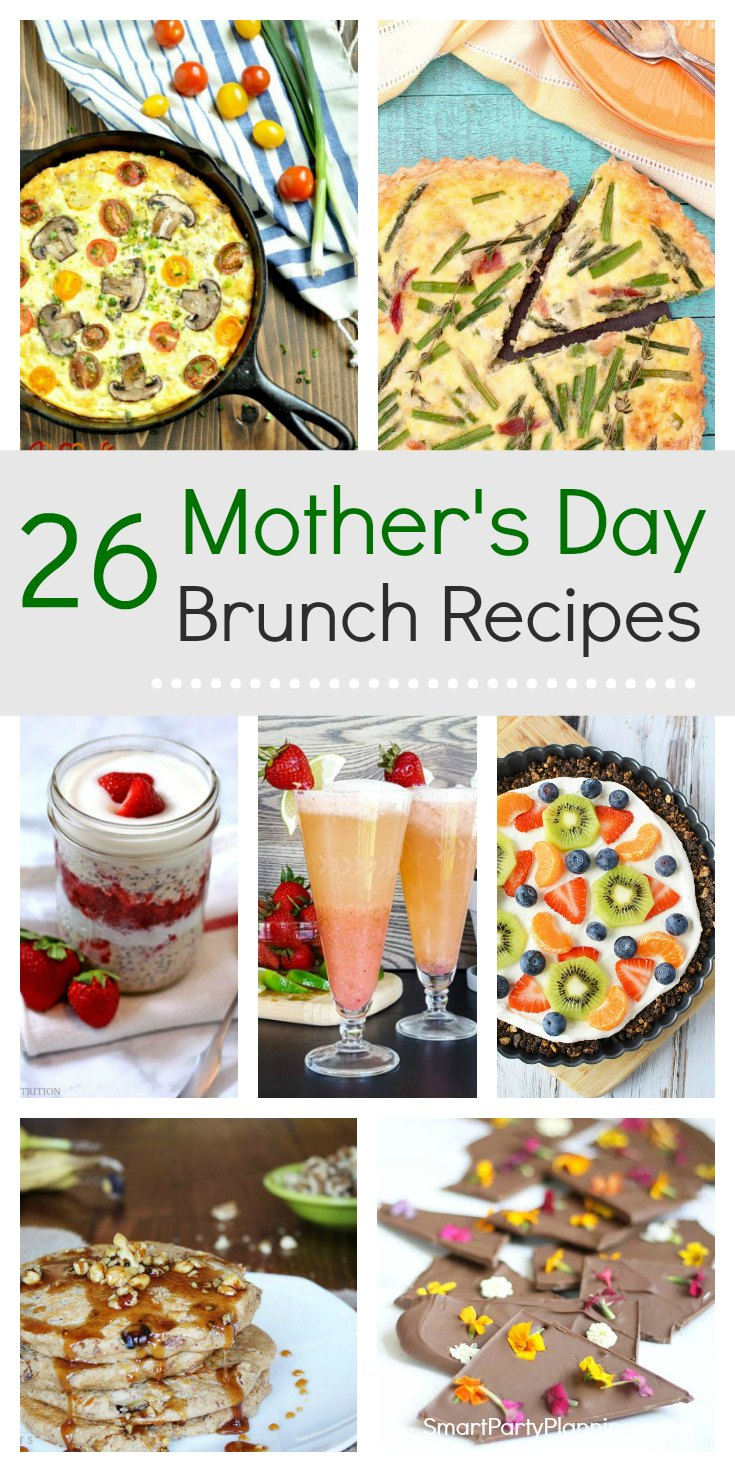 Selection of 26 Mother's day brunch ideas that are simple to make at home. These easy recipes are perfect for simple entertaining that mom will love. With a mix of savory and sweet food, complimented with some special drinks, these brunch recipes are sure to delight.  #Mothersday #Brunchideas #Easyrecipes #Entertaining #Athome #Mothersdaybrunch #simple #Easy #Food