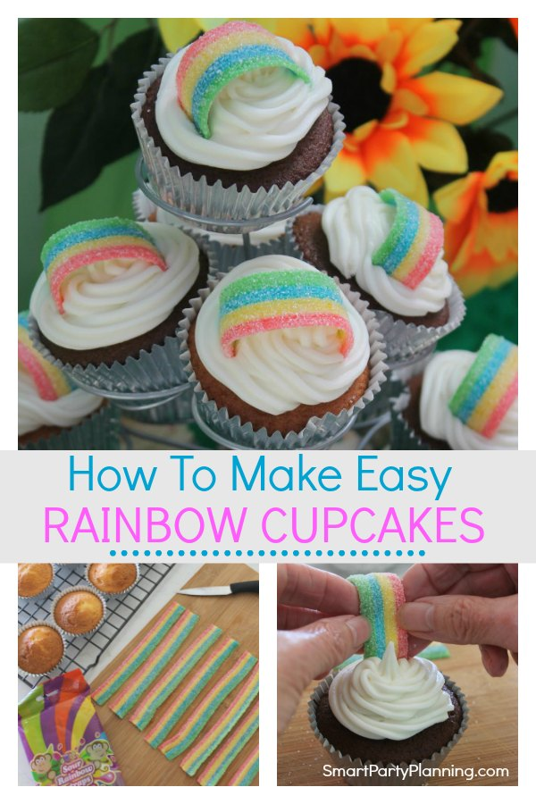 Learn how to make easy rainbow cupcakes by using simple but fun decoration.  Perfect for use at a rainbow or Trolls birthday party.  This is a design that looks great and all the kids will love them. #Rainbowcupcakes #Trolls #Rainbowparty #cupcakes #Easy #Simple #Kids