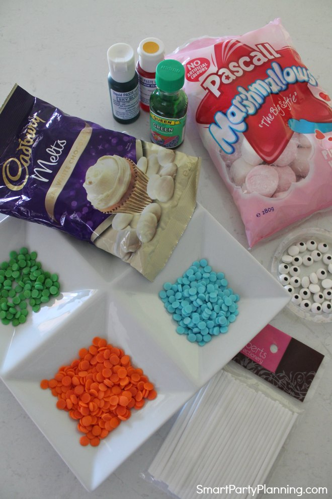 Decorations to make monster marshmallow pops
