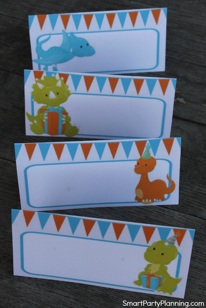Dinosaur food tent labels