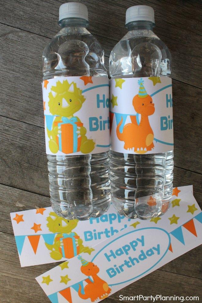Dinosaur water bottle labels