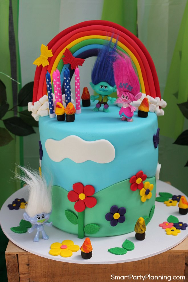 Trolls themed birthday party cake