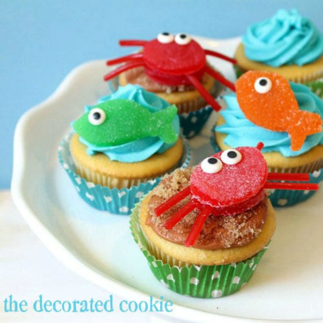 Fish and Crab Cupcakes