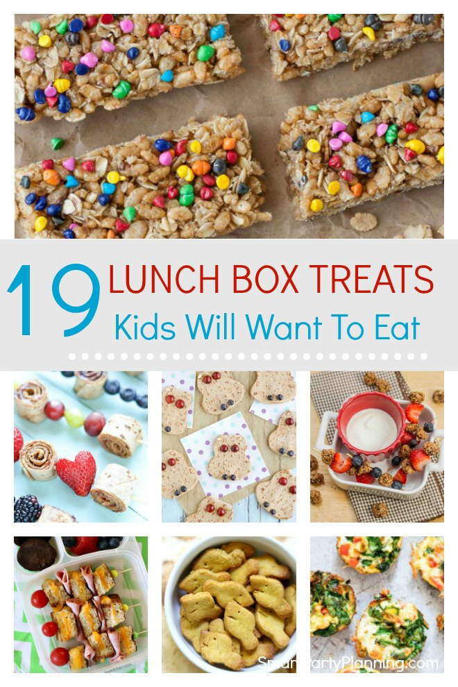 Selection of 19 fun lunch box treats that the kids are going to love taking to school. These treats are tasty, fun and also really simple to make.  These are some savory and sweet lunch box ideas that will make going back to school that little bit more desirable. The quick and easy recipes are perfect for the back to school rush and also great for those picky eaters!
