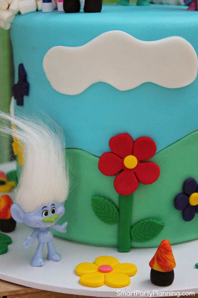 Side of the Trolls birthday cake