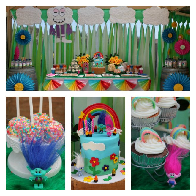 Collage of a Trolls themed birthday party