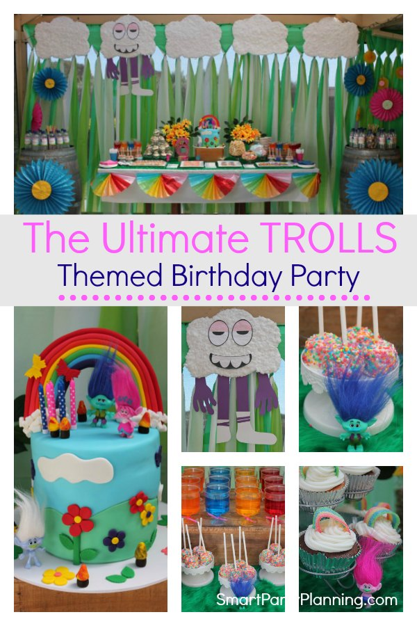 Trolls themed birthday party that kids will absolutely love.  Using DIY easy party decorations and food this is the kind of party that screams FUN. Using a rainbow design, this party will be loved by boys and girls alike. #Trolls #Birthdayparty #Decorations #Food #Ideas #Fun #Rainbow #Girls #Birthday