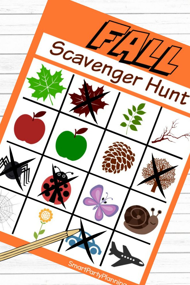 Completing the Fall Scavenger Hunt Printable