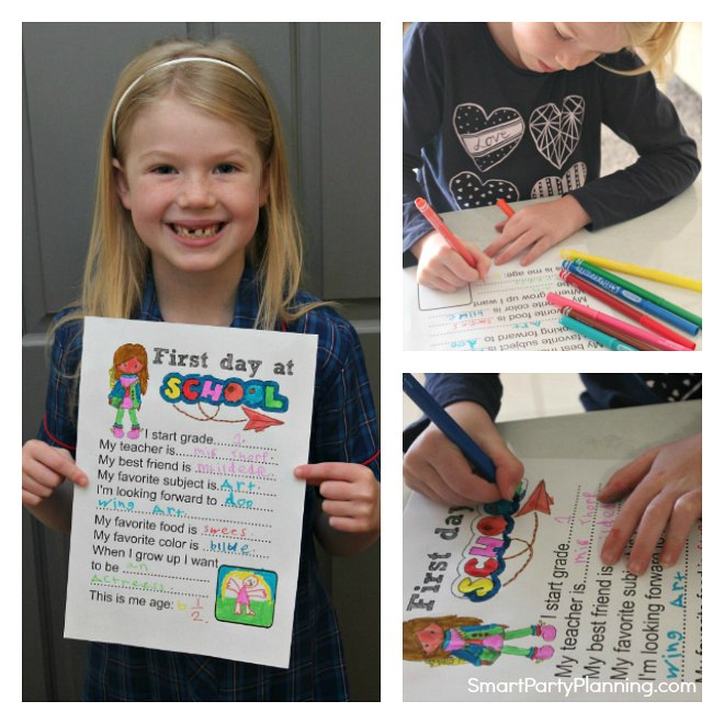 First day of school questionnaire collage
