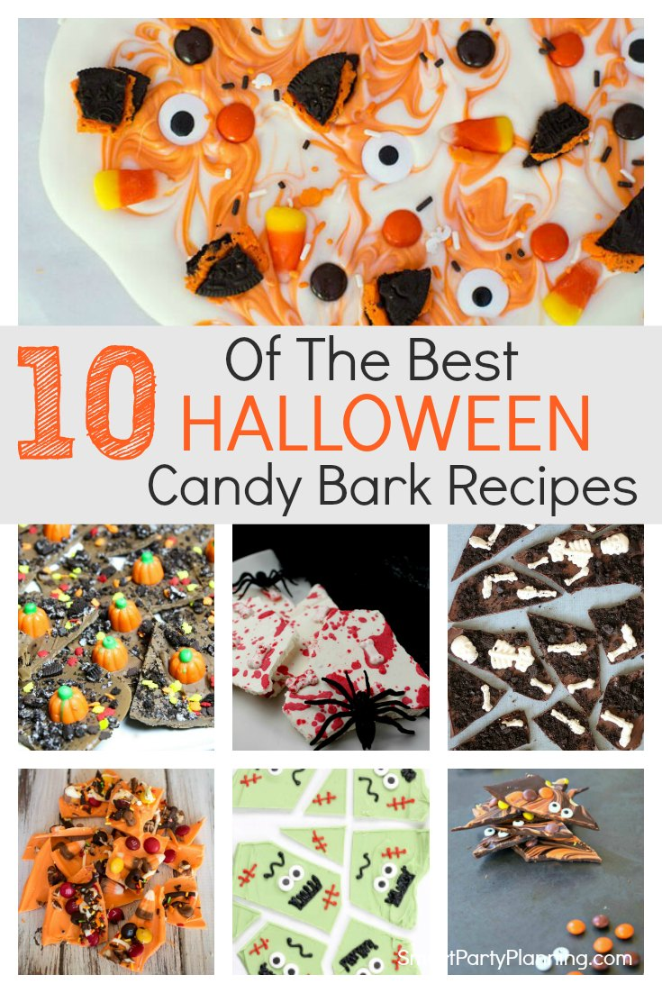 10 super easy Halloween candy bark recipes the whole family will love. These are the ultimate fun chocolate Halloween treats which kids will enjoy helping to make. Choose the candy of choice and enjoy this no-bake treat. #Halloween #Candybark #Chocolate #Recipes #Easy #Kids #Holidays #Nobake #Treats