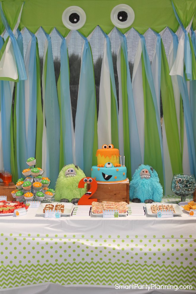 Monster Birthday Party Table set up
