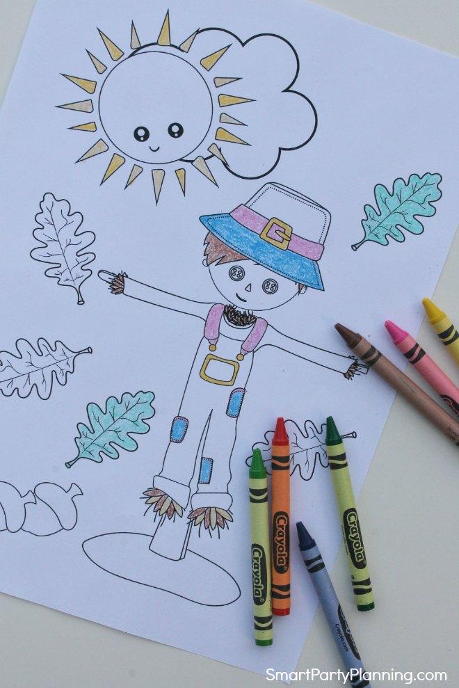 Scarecrow fall coloring sheet