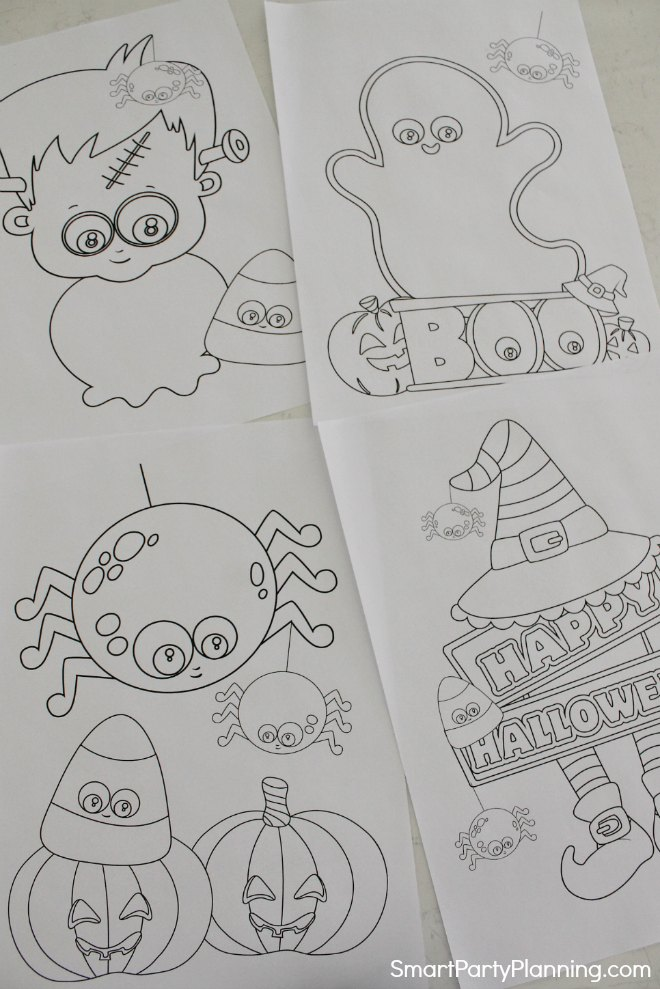4 printable Halloween coloring sheets