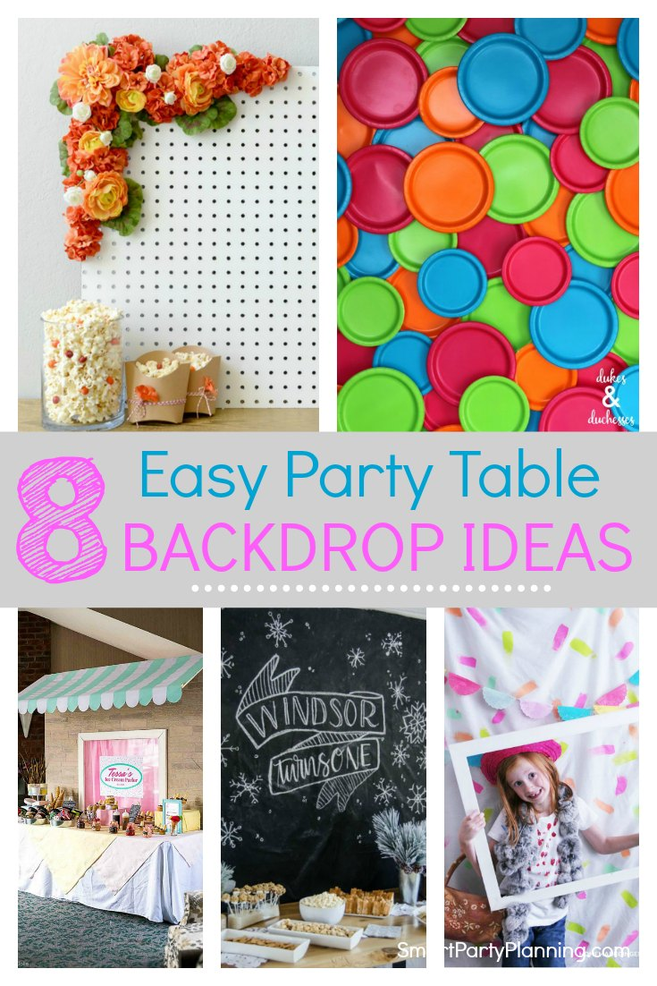 8 amazing party table backdrop ideas that you can use for a birthday or other celebration. These DIY ideas can be used for party tables or as backgrounds for photo booths. Simply by using plastic tablecloths, balloons, streamers or flowers a backdrop can be created that is fun and easy to use for any color scheme. #Partybackdrop #Photobooth #PartyTable #Easy #Tutorial #PlasticTablecloths