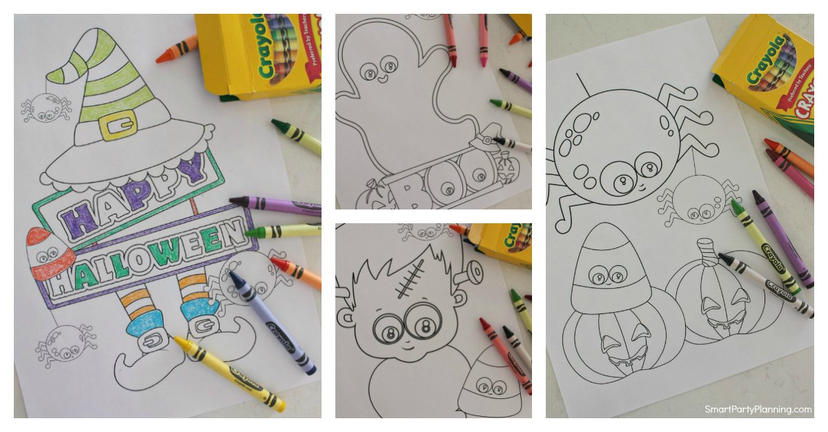 Set of 4 Halloween Coloring Pages