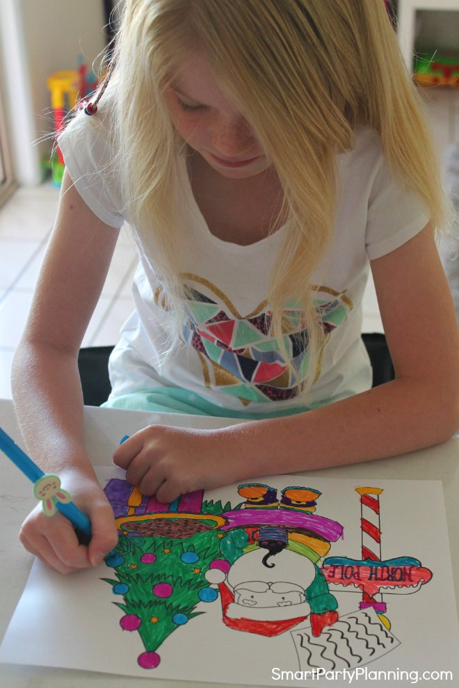 Child coloring in santa coloring pages