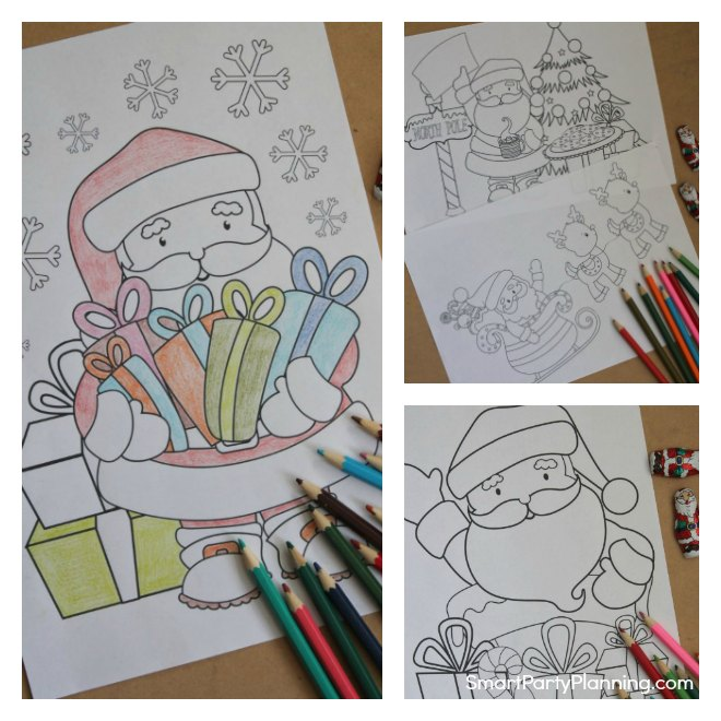 Collage of Santa Coloring Sheets