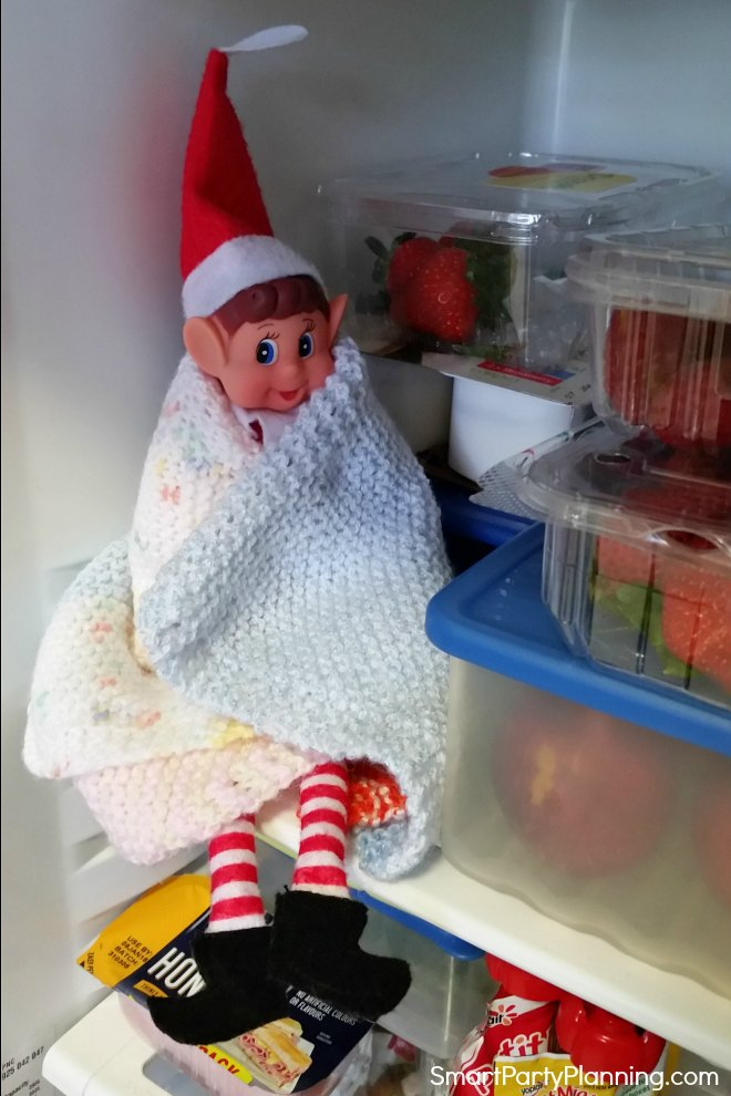Elf on the shelf sits in the fridge