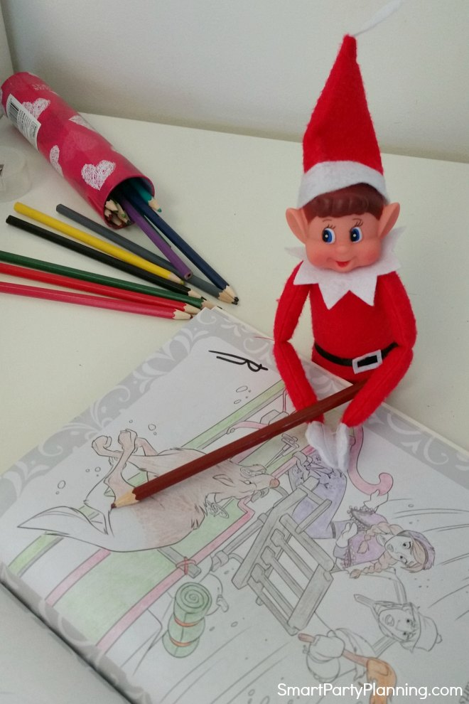 elf on the shelf does some coloring in