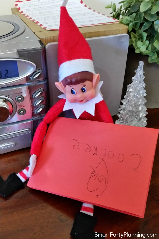 elf on the shelf with a letter