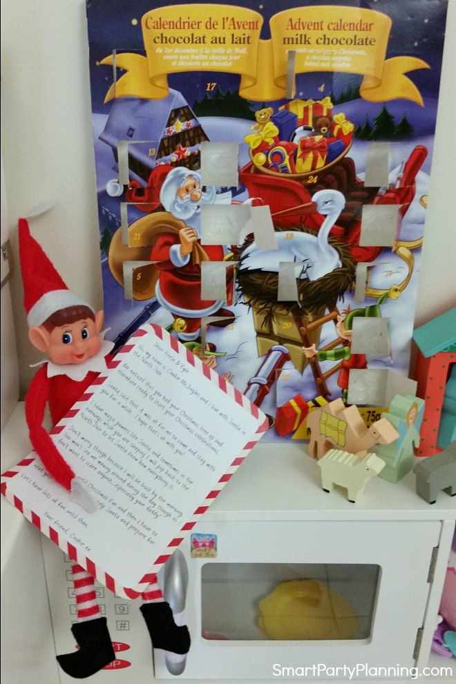 elf on the shelf with a welcome letter