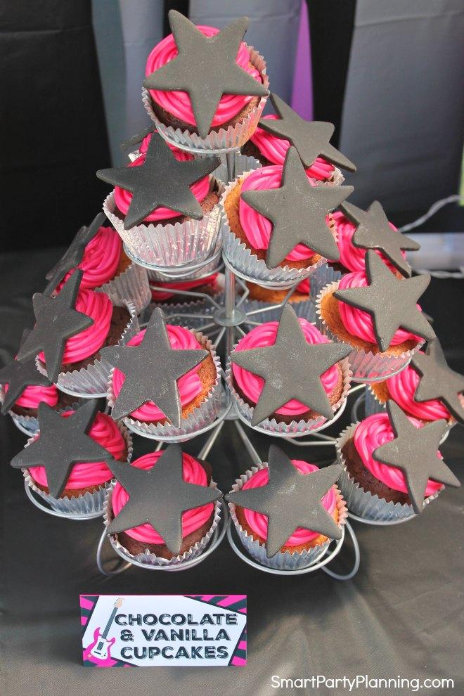 Chocolate and vanilla rockstar cupcakes