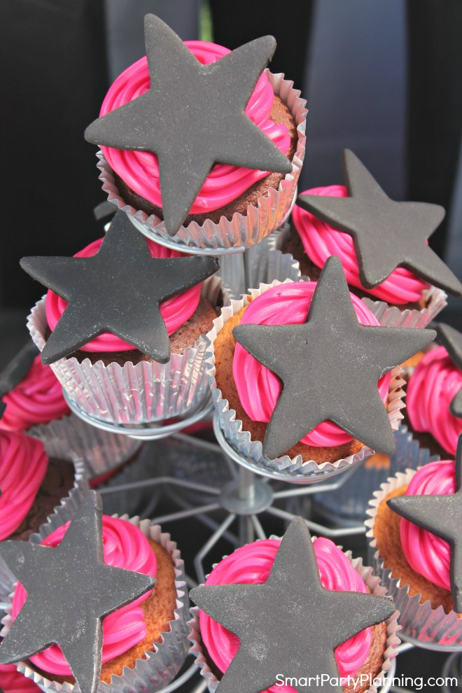 Stand of rockstar cupcakes