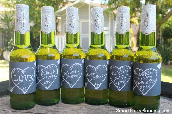 Set of 6 printable Valentines beer labels chalkboard