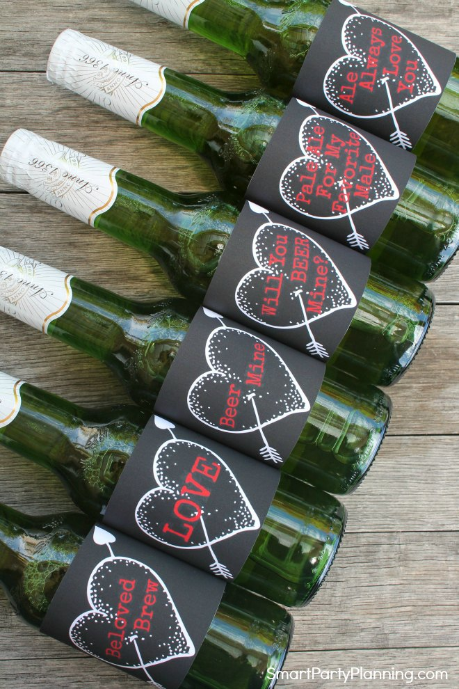 Set of heart Valentines beer labels black