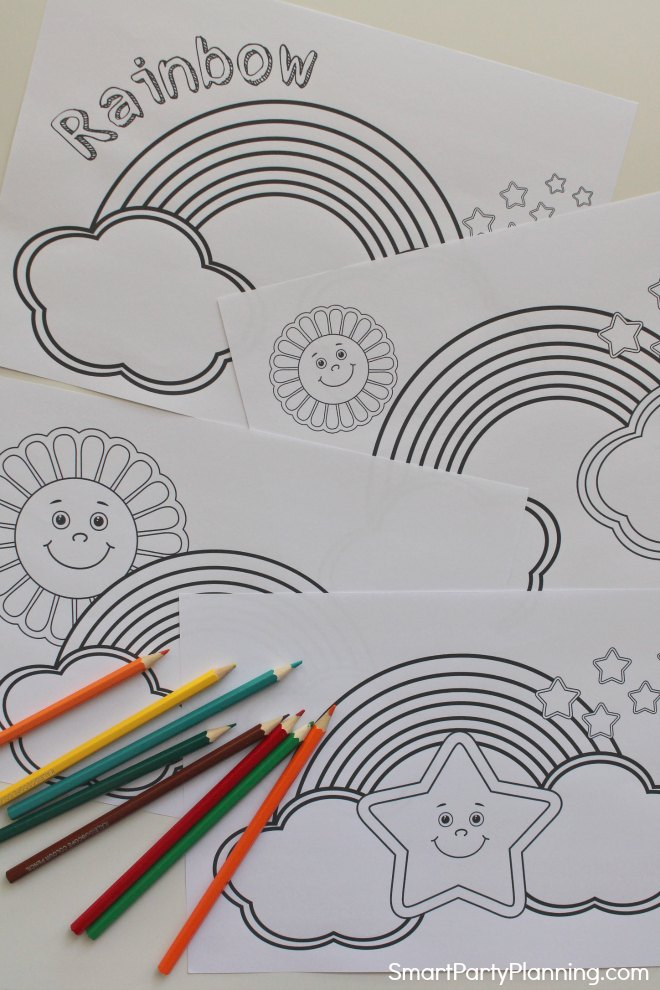 4 Rainbow Coloring Pages