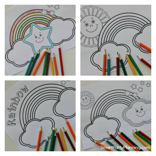 Set of 4 rainbow coloring pages