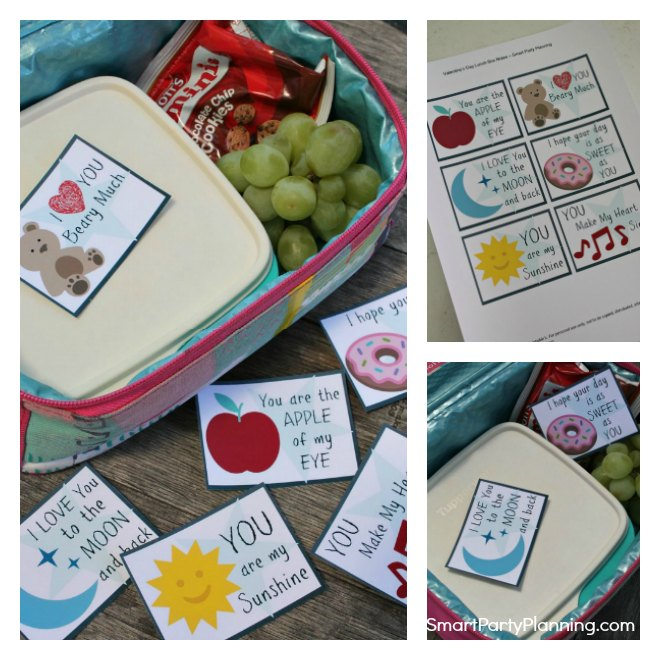 Set of 6 Valentines day lunch box notes for kids