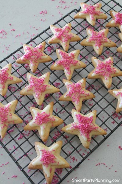 Sprinkles on the star cookies