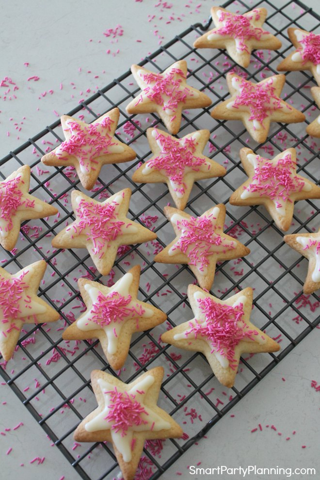 Sprinkles on the star cookies