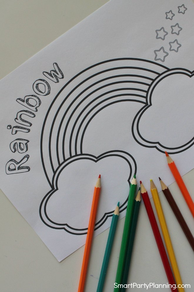 Text rainbow coloring page