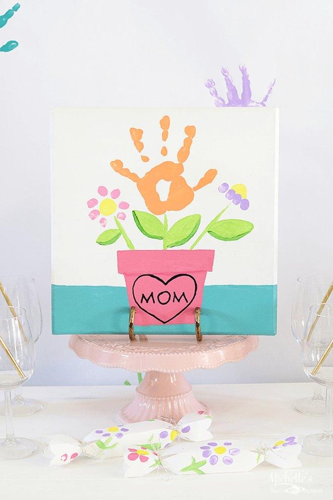 Flower handprint painting