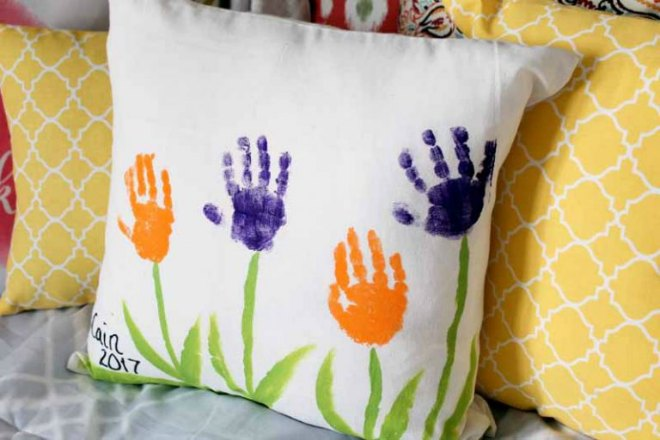 Handprint pillow