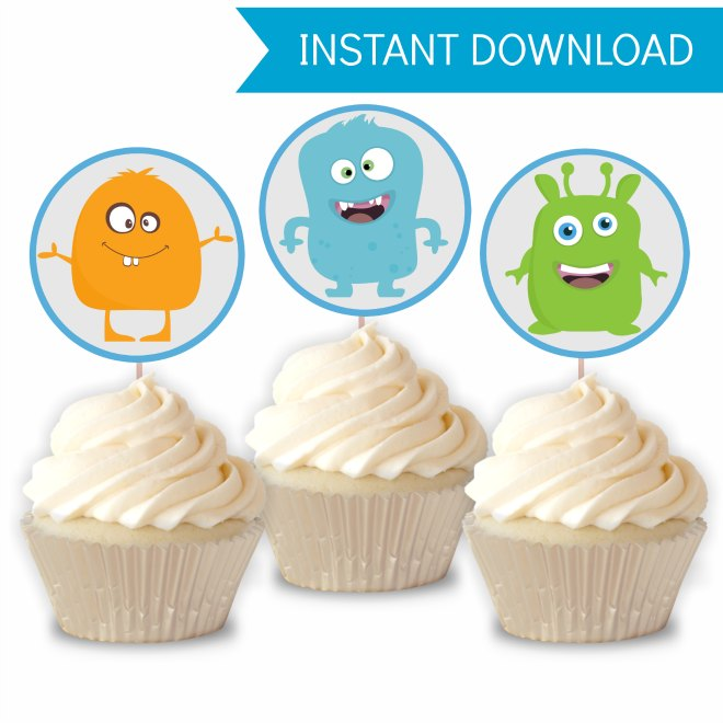 Monster Party Printables - Cupcake Toppers
