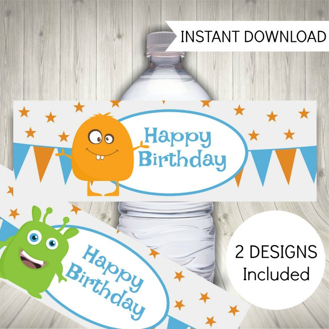 Monster party printables - water bottle labels