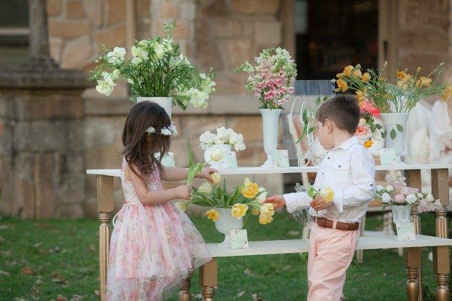 Children at flower bar