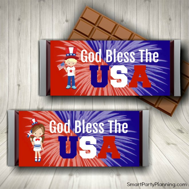 Candy Bar Wrappers for 4th July