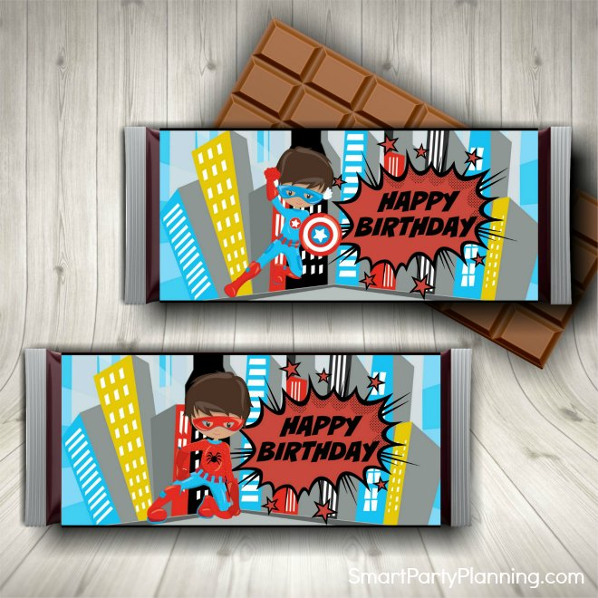 Superhero candy bar wrappers city scene