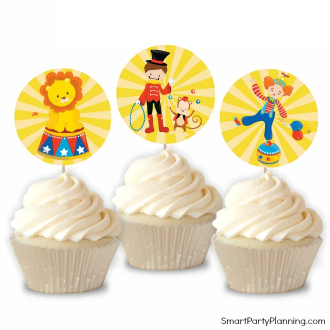 Carnival theme cupcake toppers