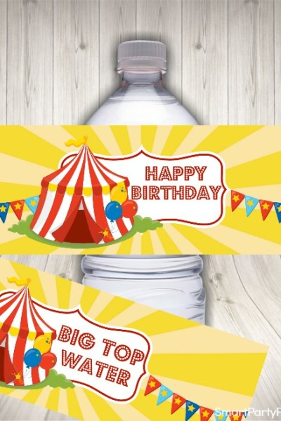 Circus party water labels