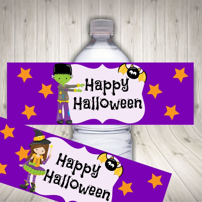 Halloween water label mock up