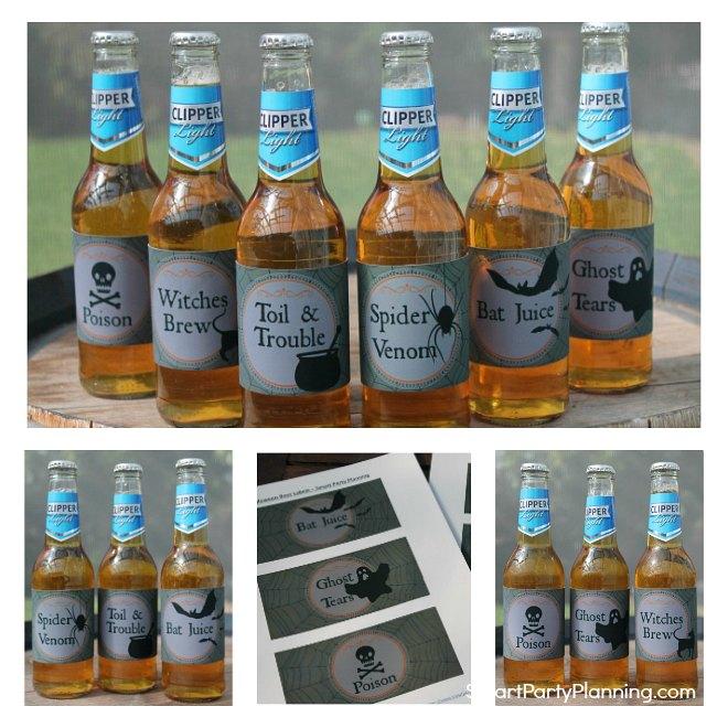 Set of Printable Halloween Beer Labels