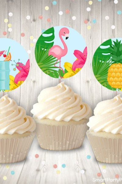 tropical cupcake toppers mock up