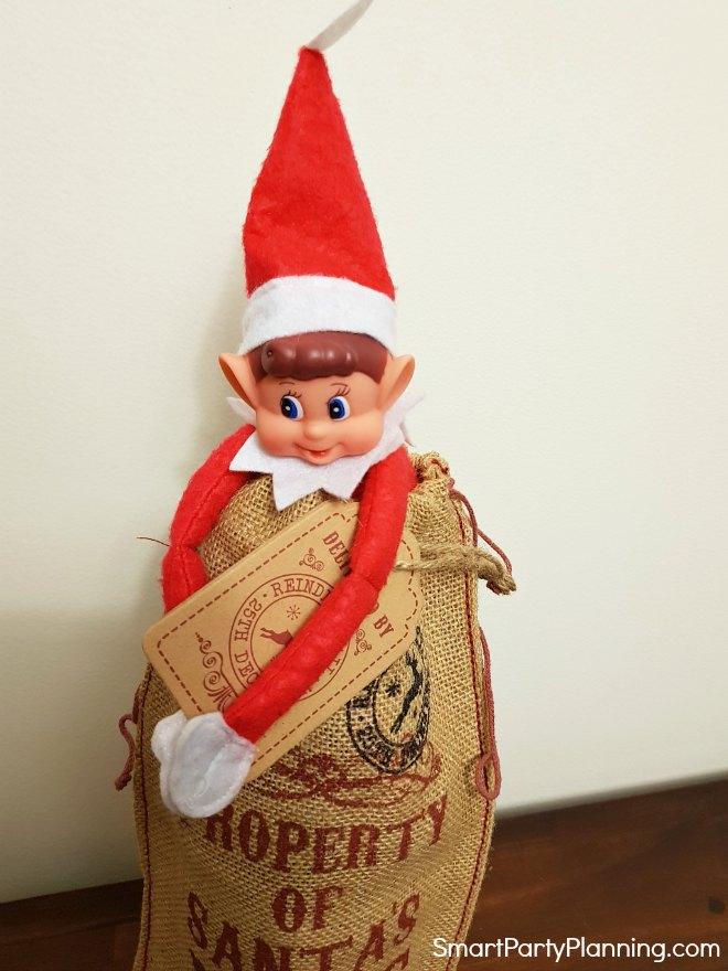 Elf in a Santa sack