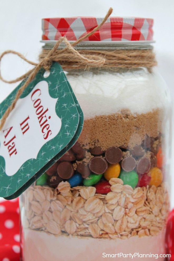 Ingredients for cookies in a jar