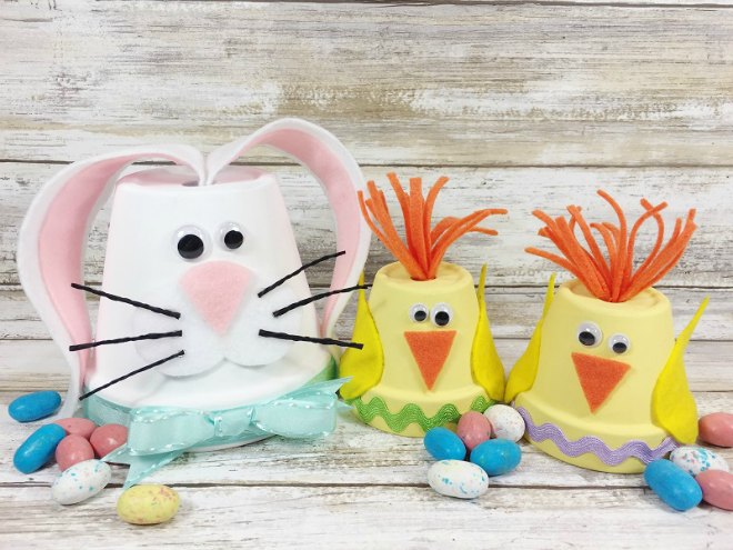 Chick and bunny clay pots